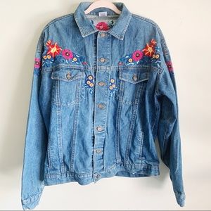 Jackets & Blazers - Floral Hand Embroidered Denim Jean Jacket Large